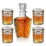BSET BUY Set di decanter e bicchieri di whisky in una confezione regalo unica – set di decanter per liquore di cristallo originale per bourbon, scotch, vodka o whisky, 5 pezzi