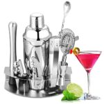 Velaze Set Shaker Cocktail, Cocktail Shaker Set Professionale Kit da Barman in Acciaio Inox SUS304, Set di Accessori da Cocktails di 10 Pezzi per Martini, Gin Tonic, Barra e Festa – Argento (850 ml)